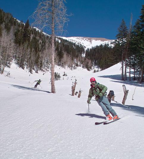 Skiing into Miners Basin