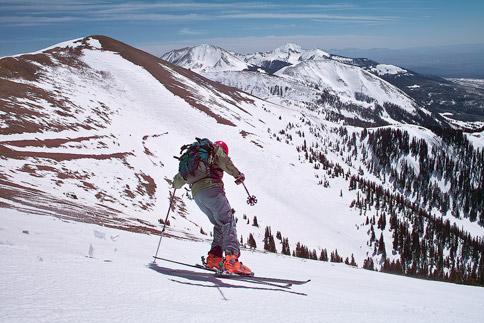 Skiing down Green Mountain