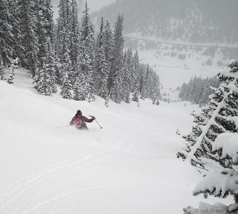 Roger Schimmel skiing some fresh powder