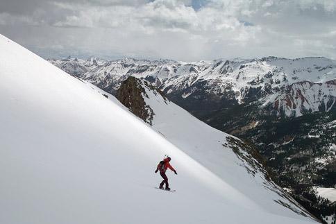Snowboarding down