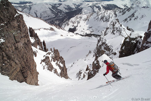 Skiing the Pearl Couloir
