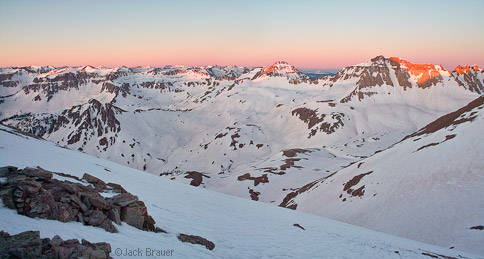 Sunrise alpenglow over Yankee Boy Basin
