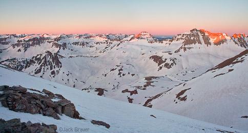 Sunrise alpenglow over Yankee Boy Basin