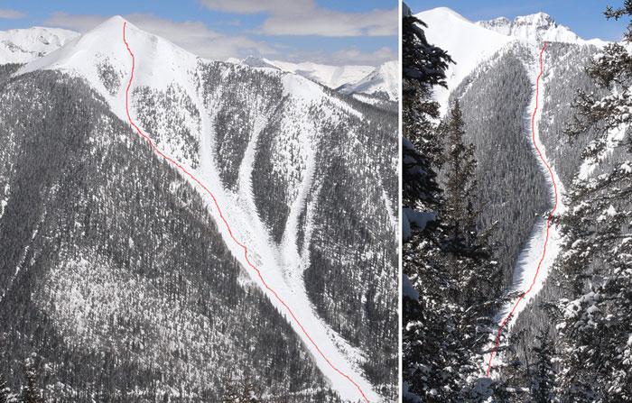 Ski and snowboard descent routes