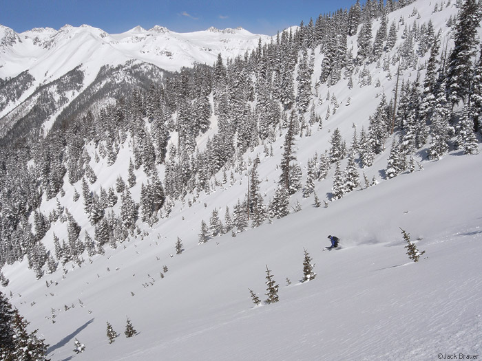 Skiing untracked powder