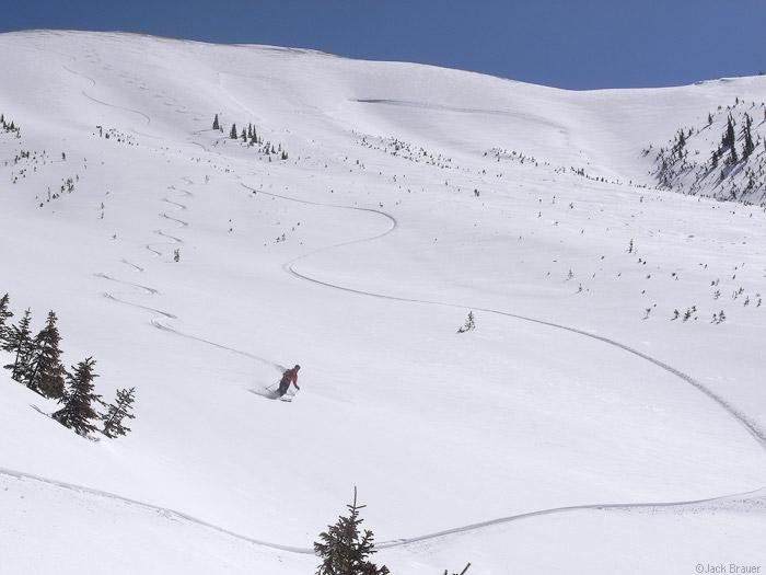 powder ski and snowboard tracks