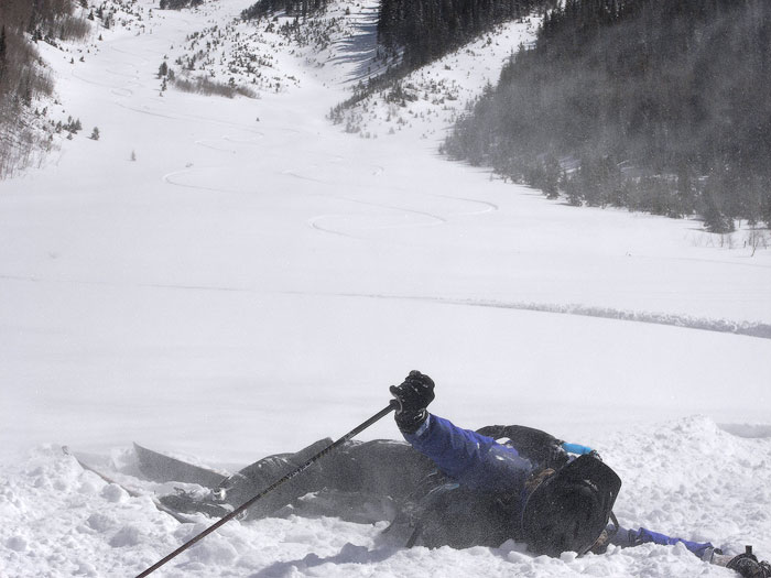 Exhausted skier