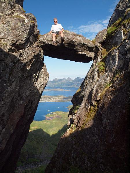 Sitting on hanging rock