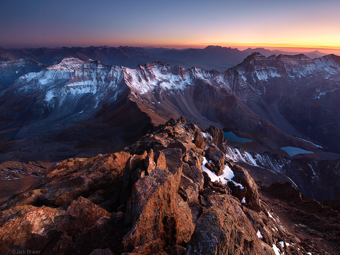 Sunset over the San Juans, from the summit of Mt. Sneffels, Colorado