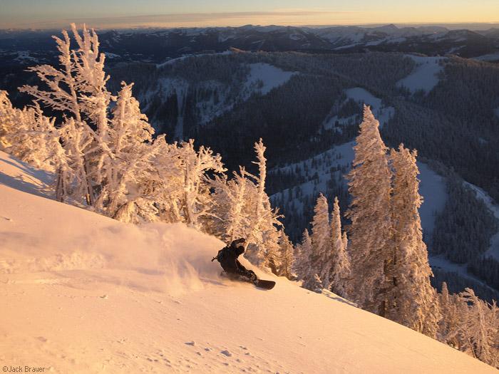 sunset snowboarding