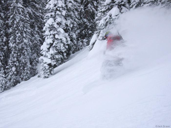 Snowboarding in powder is fun