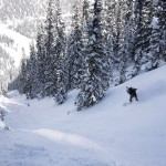 snowboarding an untracked couloir