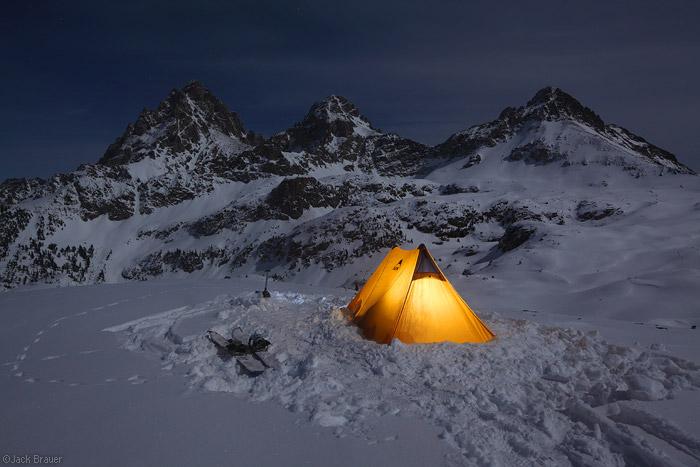 Moonlight winter camp on Hurricane Pass, Tetons