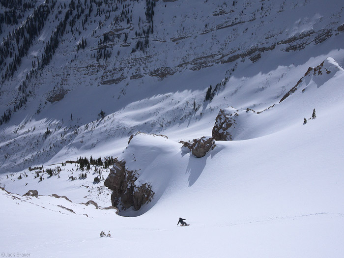Snowboarding into a chute