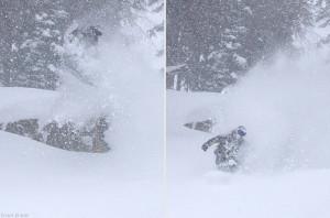 Snowboarding powder at Jackson Hole