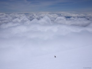 Skiing above the clouds