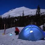 Moonlight camping on Mt. Adams