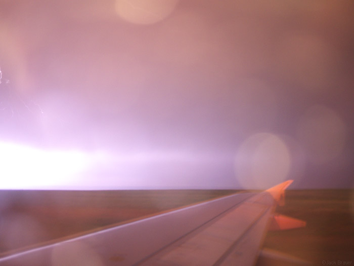 lightning and airplane wing