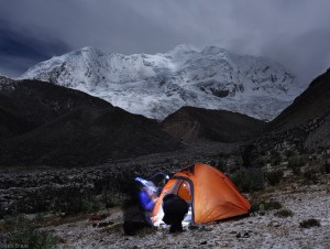 Moonlight camping in Cojup valley