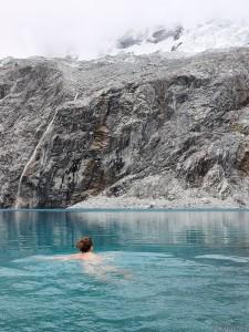 Swimming in glacial lake