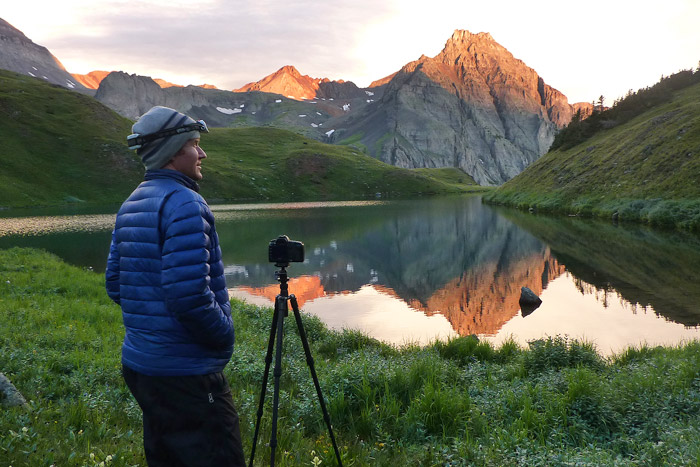 Photographing the sunrise at Blue Lakes, Colorado