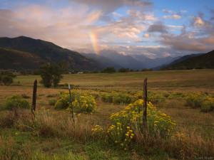 Rainbow sunset in Ridgway, Colorado