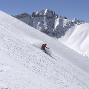 Ann Driggers skis the gnar