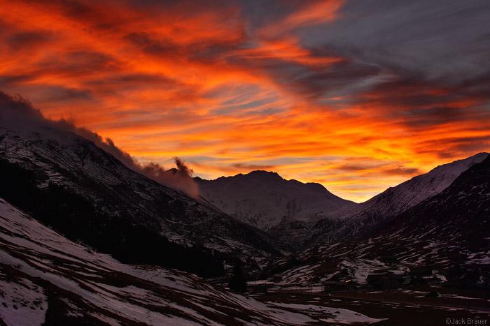 Sunset in Andermatt, Switzerland