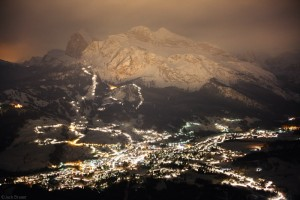 Cortina D'Ampezzo at night in winter