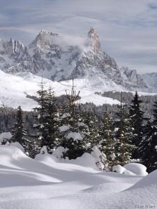 Cimon della Pala in the winter