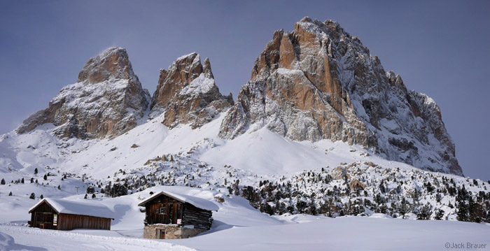 Sassolungo, winter, Dolomites, Italy