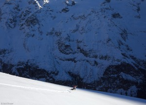 Snowboarding in the Swiss Alps