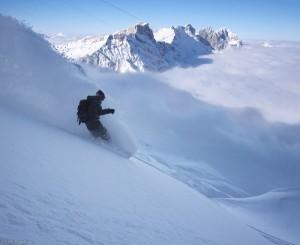 Snowboarding on the Steinberg glacier, Engelberg, Switzerland