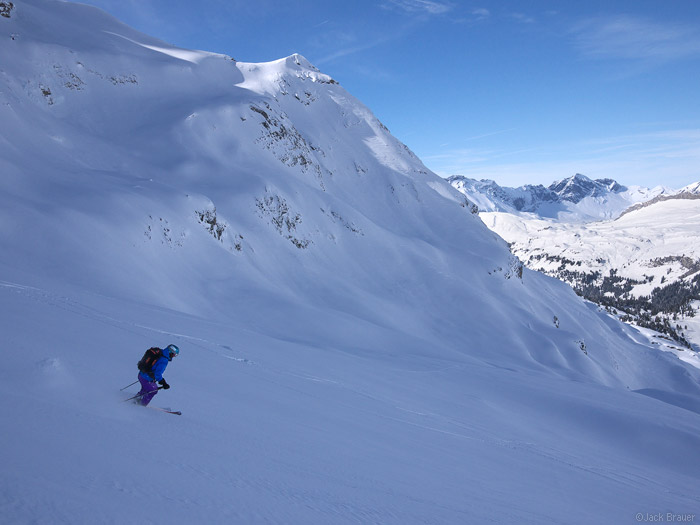 Skiing powder in Engelberg, Switzerland