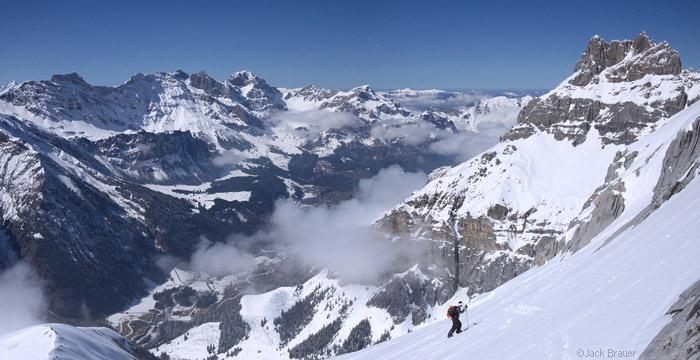 Splitboarding above Engelberg, Switzerland