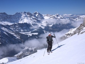 Splitboarding above Engelberg, Switzerland