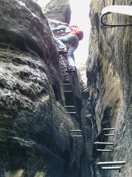 Via Ferrata in the Elbsandstein mountains, Germany