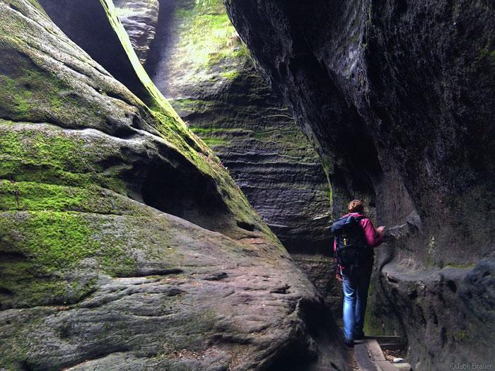 Hiking in Elbsandstein sandstone mountains, Germany