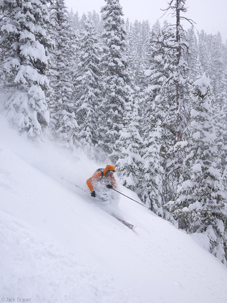 Skiing powder in the San Juan Mountains, Colorado