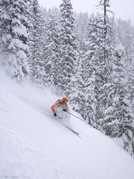 Skiing powder in the San Juan Mountains, Colorado