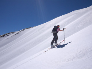 Skinning up a steep slope in the San Juans, Colorado