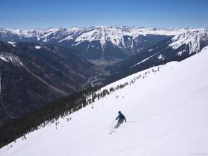 Skiing near Silverton in the San Juan Mountains, Colorado