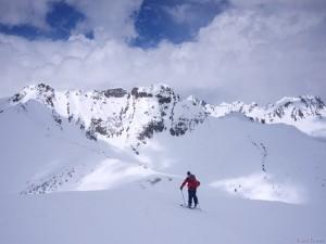 Skinning a high ridge in the San Juan Mountains, Colorado