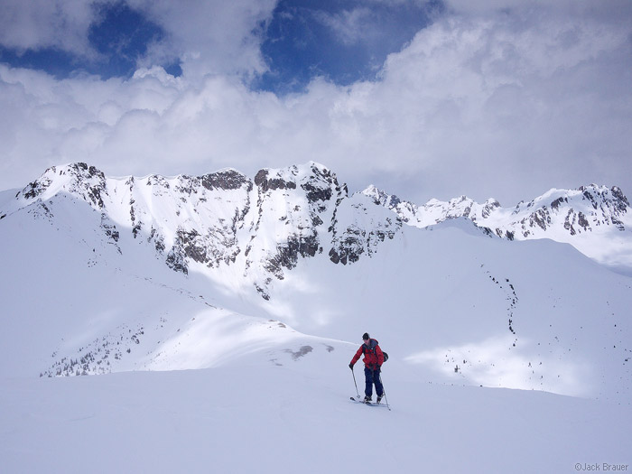 Skinning a high ridge in the San Juan Mountains, Colorado