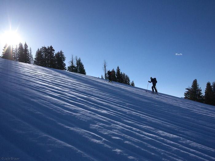 Hiker skinning silhouette, Colorado