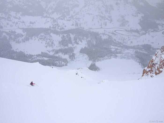 Skiing powder in the San Juan Mountains, Colorado, May