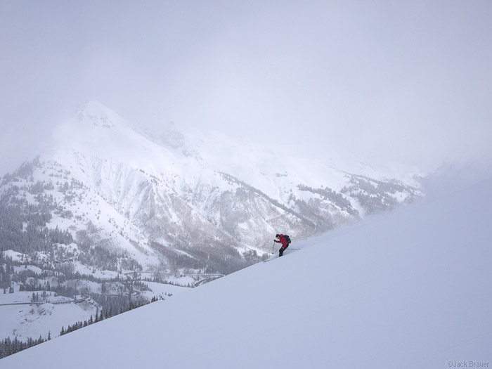 Skiing powder in the San Juan Mountains, Colorado, May