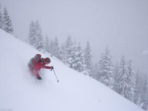 Skiing powder in the San Juan Mountains, Colorado in May
