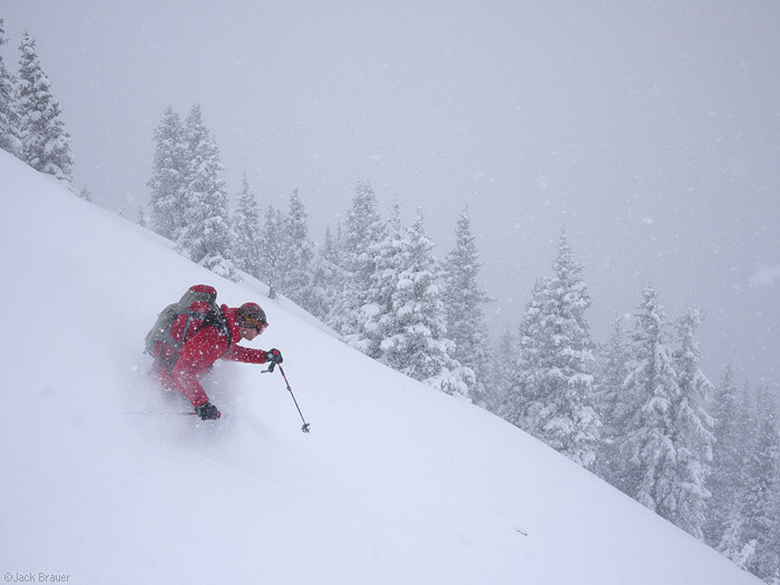 Skiing powder in the San Juan Mountains, Colorado in May