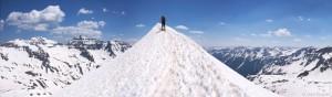 Skiing up a mountain, Colorado